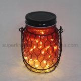 Luz de cristal retra envuelta red de la linterna del estilo LED del metal para la decoración del pórtico
