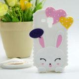 Caja linda del teléfono del gel del silicón del conejito del conejo 3D