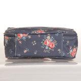 Sac cosmétique de configurations florales imperméables à l'eau bleues de toile (23205-1)
