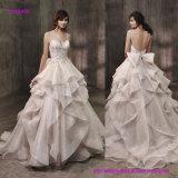 Populärer Entwurf ausgedehnt romantisches in einem Zug in voller Länge A - Zeile Hochzeits-Kleid mit auffallend umfangreicher, weicher Fuffled Organza-Fußleiste