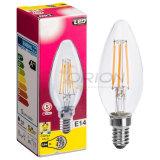 Lampadina libera dell'indicatore luminoso 4W 4200k LED E14 del filamento della candela di vetro C35