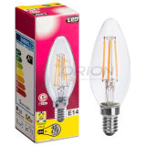 Bulbo claro de la luz 4W 4200k LED E14 del filamento de la vela del vidrio C35