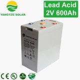 10 ans de vie de lever de soleil de batterie 2V 600ah de gel