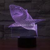 3D錯覚LEDランプは夜軽いLED鮫ランプをからかう
