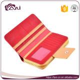 Rote Farben-lange Reißverschluss-Mappe, PU-lederner Fonds für Damen