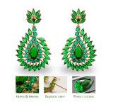 De vrouwen charmeren Oorringen van het Kristal van de Oorring van de Nagel 18k de Goud Geplateerde Groene