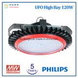 5 anos de luz elevada do diodo emissor de luz do louro do UFO da garantia 120W com a microplaqueta do diodo emissor de luz da Philips e a fonte de alimentação de Meanwell