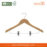 Percha de madera simple para la ropa con clips (WL8005)