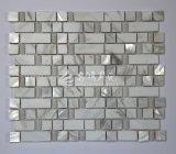 Mosaico del blanco del shell de agua dulce y del vidrio de mármol y cristalino