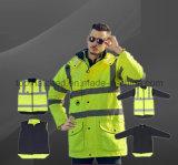 Хлопок 100% выравнивая теплую обыкновенную толком безопасность 4 в 1 высокой куртке бомбардировщика видимости