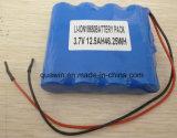 paquete de las baterías de litio de 3.7V 12.5ah