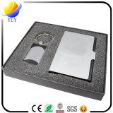 Jogos de venda quentes do presente para o suporte de cartão conhecido do metal e o metal Keychain com a caixa de relógio Slap-up
