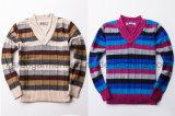 V-hals de Geribbelde Gevormde Gestreepte Sweater van de Kinderen van de Wol