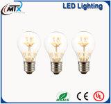 Blanco caliente de cristal de la lámpara de filamento del bulbo LED del estilo E27 220V LED de Edison de la vendimia de la bombilla de MTX A19 2 W LED para la decoración casera