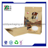 Flache Unterseiten-lamellierter Packpapier-Beutel mit Reißverschluss