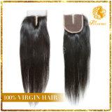 Бразильское закрытие шнурка человеческих волос 4*4 девственницы