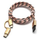 2 dans 1 type C et câble usb tressé micro