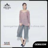 Karen-Dame-Form weg Schulter-lange Hülsevom geöffneten Knit-Kleid