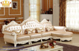 Sofa sectionnel réglé de meubles de salle de séjour de bouton de tête de dos de sofa en cuir en bois à la maison antique de Handcared