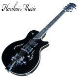 Hanhai Musik/Wein-Rot-Halb-Hohle elektrische Gitarre mit EbenholzFingerboard