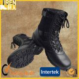 Черный польностью кожаный ботинок боя ботинок безопасности воинский с застежками -молниями