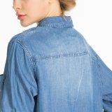 Camicia lunga del denim di Camisa dei jeans di Feminino del ragazzo all'ingrosso dello Swag