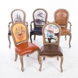 Presidenza di legno di cuoio intagliata Antiqued mobilia dell'hotel