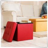 のどの革折る記憶のオットマンのフィートの腰掛けのFoldable収納箱