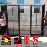 Portes coulissantes en bois en gros de la couleur UPVC avec la double glace de carreau