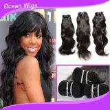 100人間の毛髪の加工されていないブラジルの自然な波の毛のよこ糸(W-108)