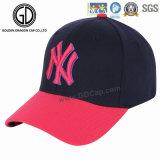 La insignia superior del bordado del panel de Ny 6 de la manera se divierte las gorras de béisbol de encargo de la manera de la insignia de los casquillos