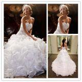 끈이 없는 Organza 신부 무도회복은 실제적인 결혼 예복 Lk1540를 구슬로 장식한다