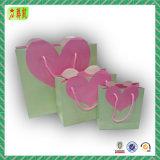 Bolso de regalo de papel personalizado con diseño de corazón rosa especial