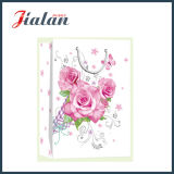 Día de la Madre - Papel de Marfil Flores Glitter Bolsa de papel de regalo de compras