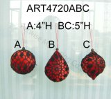 "Diametro 3 "" Red Crochet Ball, 3ast-Christmas Ornaments"