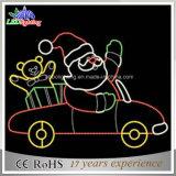 Santa et ses lumières de motif de corde de Noël du vélo DEL