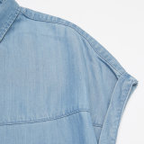 형식 여자는 2016 최신 인기 상품 데님 블라우스 셔츠를 입는다