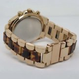 Le quartz de mouvement du Japon observe la bande en cuir allier la montre