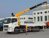 caminhão reto telescópico do crescimento 12t montado com guindaste