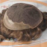 100%のブラジル人の毛の人(PPG-l-0221)のための暗いBrwonカラーToupee