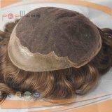 100% Brasilianer-Haar dunkler Brwon FarbeToupee für Männer (PPG-l-0221)