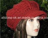 Chapeau de chapeau de vendeur de journaux de Newsgirl des femmes Slouchy de configuration de chapeau de crochet de main