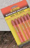 rojo impermeable no tóxico de la etiqueta de plástico de la pluma de marca del creyón de la marca 6PCS