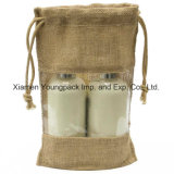Pequeño bolso de lazo impreso aduana promocional de Hession del yute de la bolsa de la arpillera