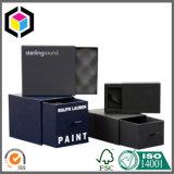 Коробка роскошных ювелирных изделий подарка цвета черноты логоса золота бумажная