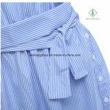 Heiße Verkaufs-Form Ein-Schulter elegantes blaues gestreiftes Frauen-Hemd-Kleid