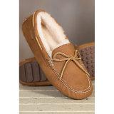 Cuero genuino de las mujeres de piel de oveja zapatillas mocasín
