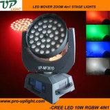 가장 새로운 36PCS 10W RGBW 4in1 세척 LED 이동하는 헤드