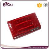 Piel roja del cocodrilo de la carpeta de las mujeres del cuero genuino del diseño de la elegancia de Fani pequeña