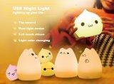 Couleurs d'arc-en-ciel changeant le contrôle de taraud sensible de lampe Shaped de nuit de chat de silicones près de la lampe de Talbe pour le bébé
